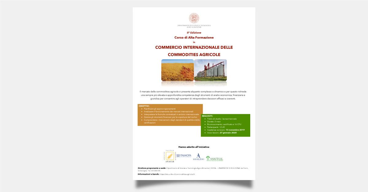 II° Edizione Corso di Alta Formazione in COMMERCIO INTERNAZIONALE DELLE COMMODITIES AGRICOLE